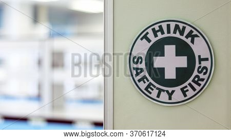 The Safety Sign On The Open Door Room With Bench Laboratory And Experiment In Medical Service Room,