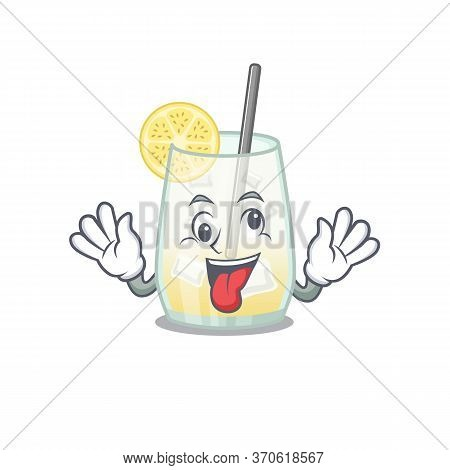 A Mascot Design Of Tom Collins Cocktail Having A Funny Crazy Face