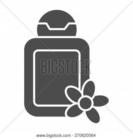 Cosmetic Bottle With Flower Solid Icon, Spa Salon Concept, Oil Bottle Sign On White Background, Spa