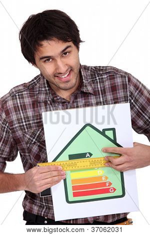 man holding abcd image house