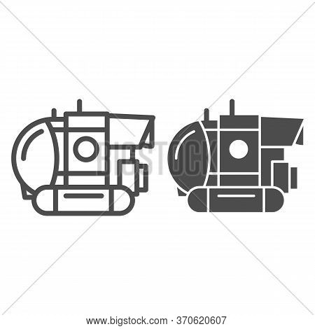 Bathyscaphe Line And Solid Icon, Ocean Concept, Military Submarine Sign On White Background, Underwa