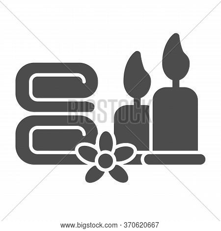 Towels With Flower And Burning Candles Solid Icon, Spa Salon Concept, Massage, Wellness And Spa Sign
