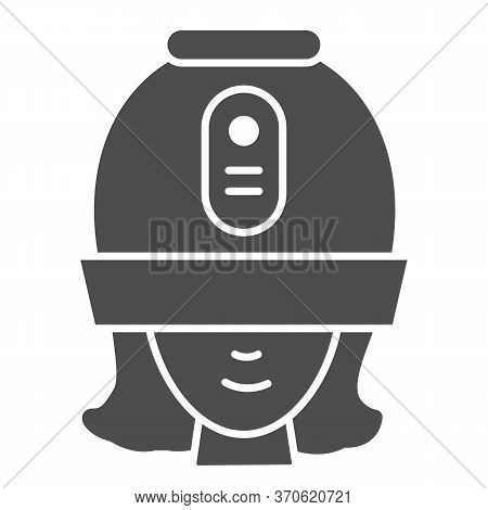 Young Woman Under Hooded Dryer Machine Solid Icon, Hair Salon Concept, Girl Under Drying Hood Sign O
