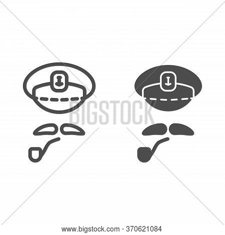 Captains Cap, Mustache And Pipe Line And Solid Icon, Nautical Concept, Abstract Sea Captain Characte
