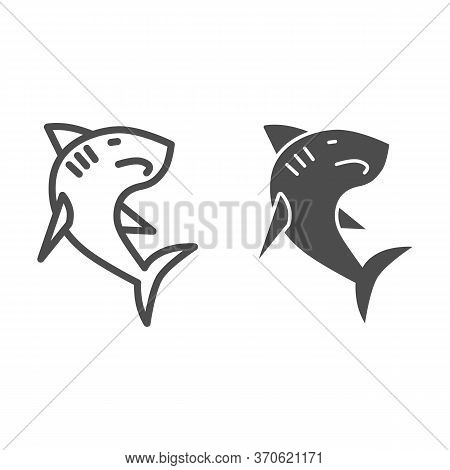 Shark Line And Solid Icon, Ocean Concept, Danger Marine Fish Sign On White Background, Shark Silhoue