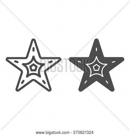 Starfish Line And Solid Icon, Nautical Concept, Seastar Sign On White Background, Starfish Icon In O