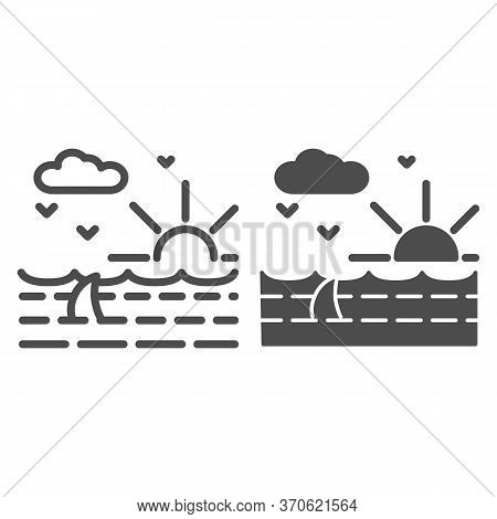 Ocean Waves With Shark Line And Solid Icon, Nautical Concept, Ocean Landscape With Sun, Clouds And S