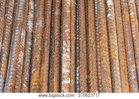 Steel Bars Textuer Background. Reinforcing Bar Background.