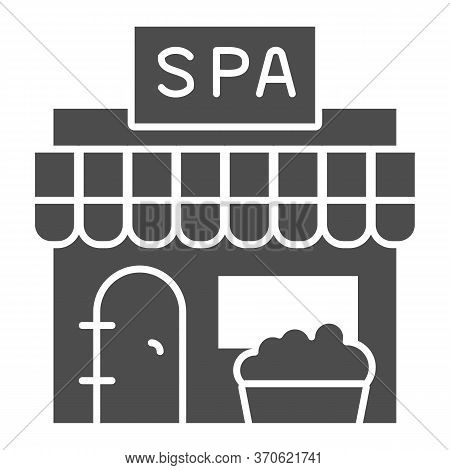 Spa Salon Building Solid Icon, Spa And Relax Concept, Beauty Salon Sign On White Background, Buildin