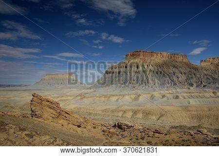 Amazing Dunes And Huge Rock Butte At Factory Butte, Hanksville, Utah.