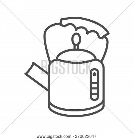 Retro Kettle Thin Line Icon, Kitchenware Concept, Straight Shaped Teakettle Sign On White Background