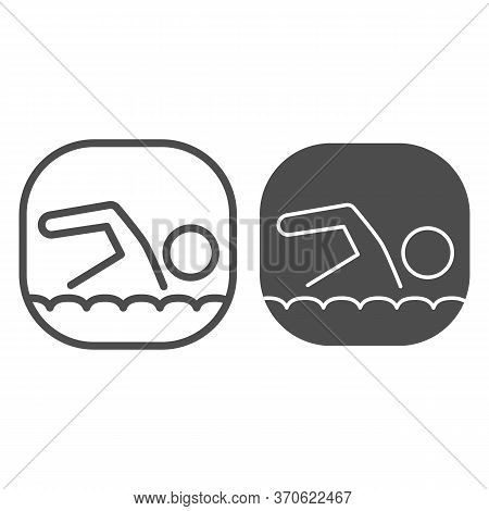 Swimmer Line And Solid Icon, Nautical Concept, Man Swims In Sea Sign On White Background, Swimming I