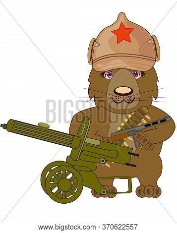 Russian Bear Revolutionary With Machine Gun Cartoon