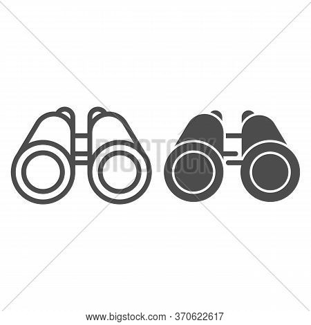 Binoculars Line And Solid Icon, Ocean Concept, Binocular Sign On White Background, Marine Researcher