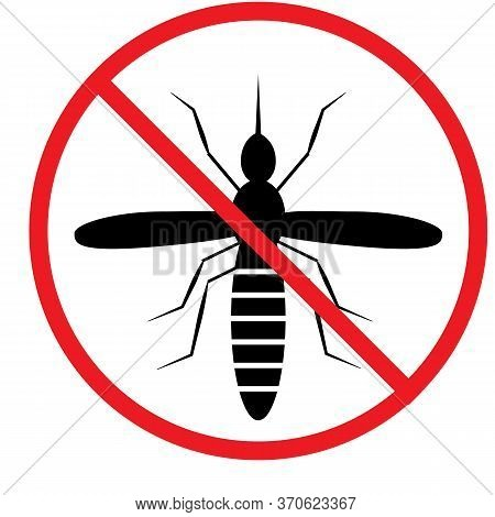 Mosquito Warning Sign. Anti Mosquitoes Icon On White Background. Prohibition Sign. Stop Zika Virus.