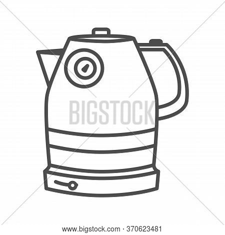 Electric Kettle Thin Line Icon, Household Appliances Concept, Teakettle Sign On White Background, El