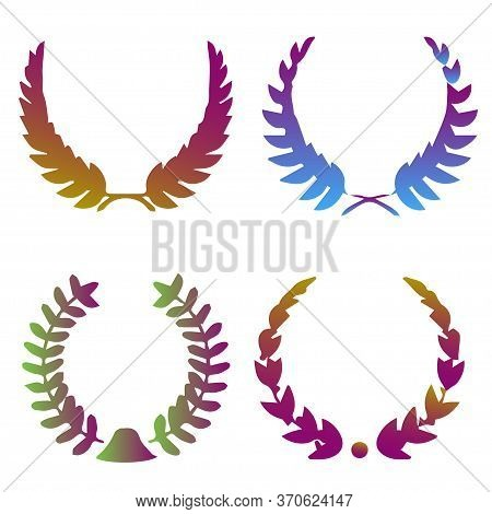 Collection Of Vibrant Gradient Circular Laurel Foliate, Wheat, Oak Wreaths Depicting An Award, Achie