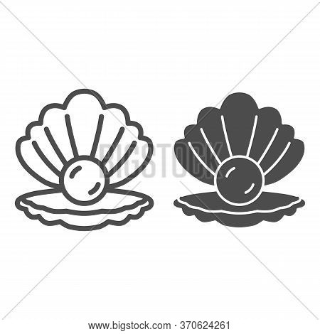 Shell With Pearl Line And Solid Icon, Nautical Concept, Seashell Sign On White Background, Pearl In