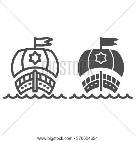 Sailboat In Ocean Line And Solid Icon, Nautical Concept, Sailing Ship Sign On White Background, Sail