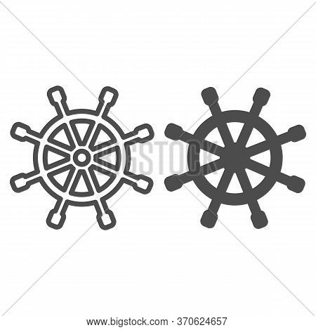 Wooden Marine Wheel Line And Solid Icon, Nautical Concept, Ship Helm Sign On White Background, Shipb