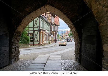 Wernigerode, Germany - May 23, 2019: View Through The Westerntor To The Old Town Of Wernigerode In T