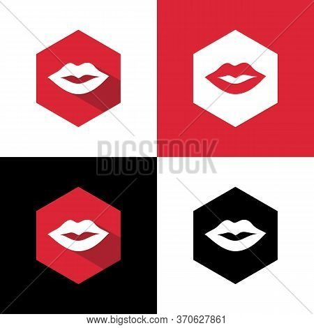 Woman Lips Icon, Red Lip Symbol, Flat Design Style Vector Illustration
