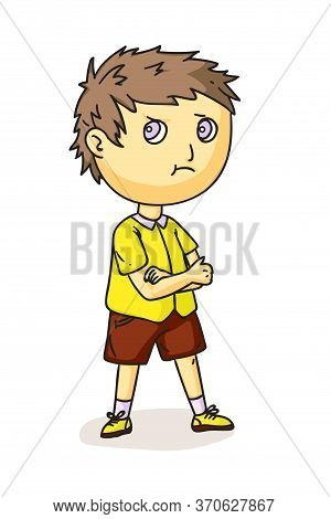 Serious Little Boy Cartoon Character Isolated On White. Angry Preschooler Standing With Arms Crossed