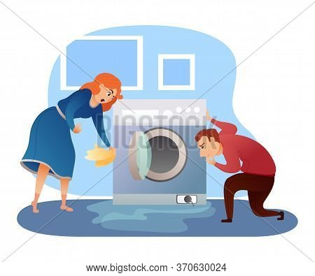 Man And Woman Looking At Washing Machine Leakage Cartoon. Plumber And Housewife Characters. Househol