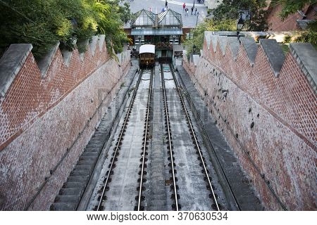 Budapest Funicular With Car Bs1 Margit For Bring Hungarians People And Foreign Travelers Travel Visi