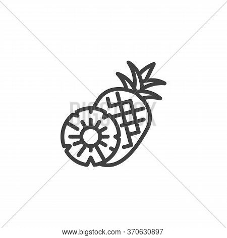 Pineapple Fruit Line Icon. Linear Style Sign For Mobile Concept And Web Design. Pineapple Whole And