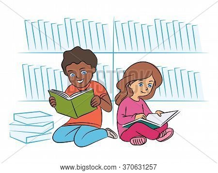 Multiracial Kids Reading Book On Floor In Library. Two Children Enjoying Literature. Afro-american B