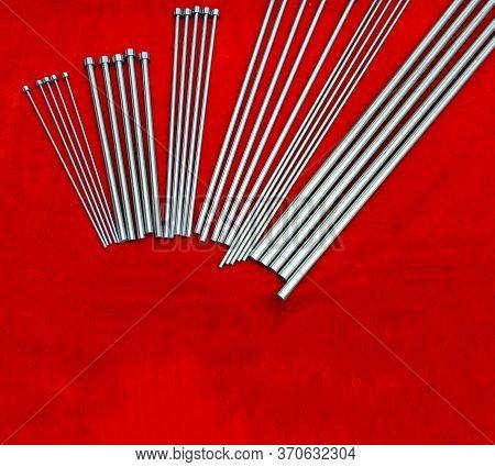 Ejector Steel Pins For Injection Mold(tooling)  ; Industrial Engineering Background With Copy Space