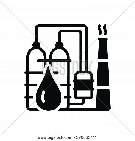 Black Solid Icon For Petrochemical  Refinery  Industry Oil-plant Drop Petro Manufacturing
