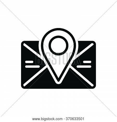 Black Solid Icon For Postcode Poatal Pincoad Letter Massage Email Location Address Communication Env