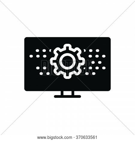Black Solid Icon For Programmatic Technology Digital Setting App Software Monitor