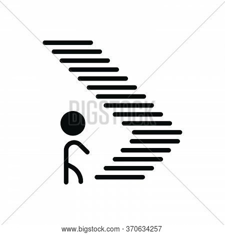 Black Solid Icon For Step Climb Footstep Walk Iterance Ladder