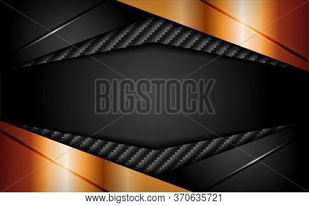 Abstract Dark Carbon Background Combine With Golden Shape. Modern Template Design
