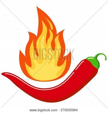 Red Chilli Pepper In Hot Burned Fire Flame Icon Isolated On White Background. Flat Design Cartoon St