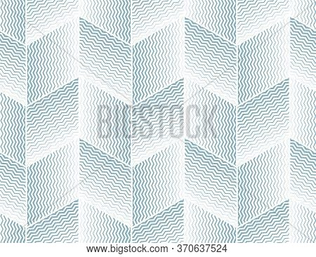 Abstract Geometric Pattern With Stripes, Lines. Seamless Vector Background. White And Blue Ornament.