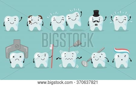 Teeth Care Set. Tooth Cartoon Character Suffering From Cavity. Sad Or Happy Shiny Teeth, Dentist Too