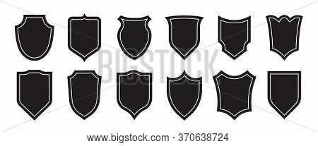 Authority Insignia Set. Police Department Badge Silhouettes, Military Heraldic Shields. Vector Illus