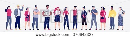 Business Confident People Flat Vector Illustration Set. The Concept Of The Various Activities Of Men