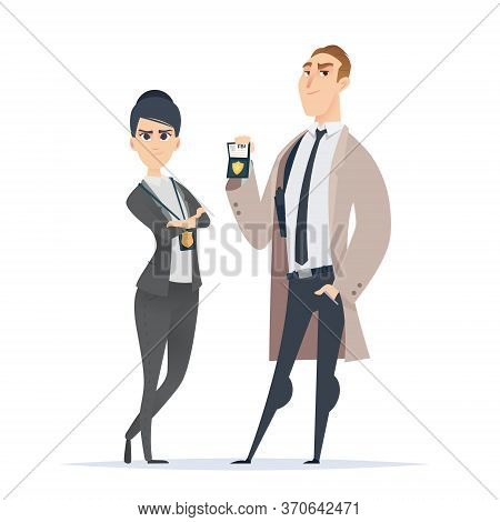Police Officer Couple In The Uniform Standing. Police Characters. Public Safety Officers. Fbi Specia