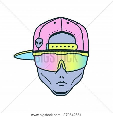 Alien Dude Int The Cap And Sport Sunglasses Color White Background