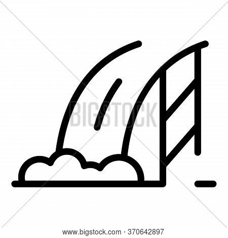 Hydroelectric Dam Icon. Outline Hydroelectric Dam Vector Icon For Web Design Isolated On White Backg