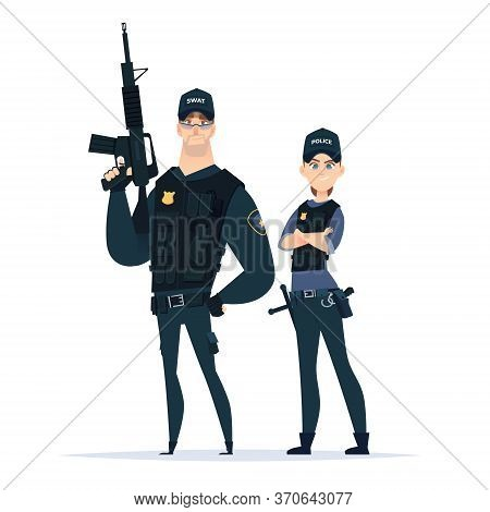Police Swat Officer Couple In The Uniform Standing Together. Public Safety Officers In Armor. Guardi