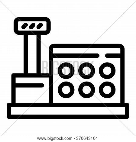 Cashier Machine Icon. Outline Cashier Machine Vector Icon For Web Design Isolated On White Backgroun