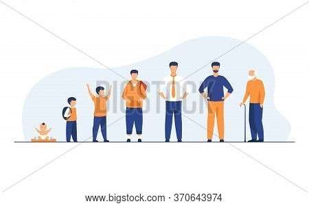 Man Life Cycle Concept. Set Of Male Character In Different Age. Baby, Kid, Boy, Pupil, Student, Adul