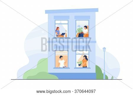 Building Exterior With Open Windows And People Inside Their Apartment. Neighbor Women Greeting Each