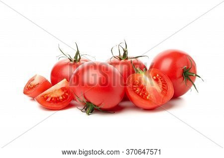 Fresh Ripe Tomatoes Isolated On White Background